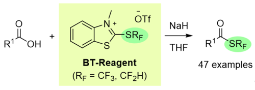 Deoxygenative Tri- and Difluoromethylthiolation of Carboxylic Acids with Benzothiazolium Reagents